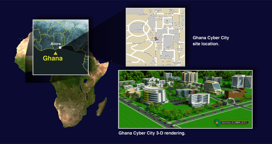 Ghanan Cyber City Location in Relation to Africa